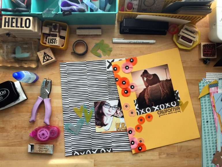 rukristin scrapbook layouts Messy Box kit